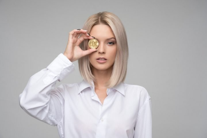 woman with bitcoin